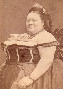 Lady with tea cups